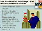 what a distributor wholesaler might do for manufacturer producer suppliers