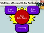 what kinds of personal selling are needed