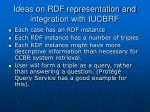 ideas on rdf representation and integration with iucbrf