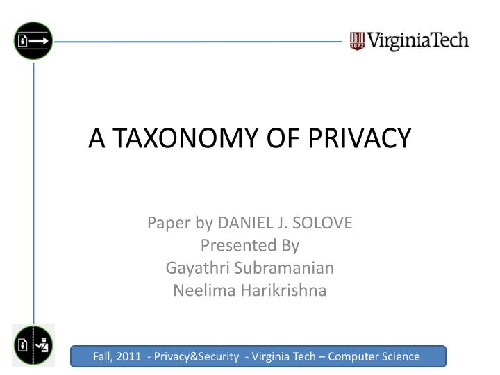 a taxonomy of privacy n.