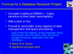 formula for a database research project