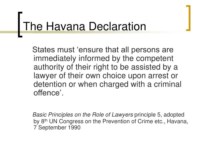 The Havana Declaration
