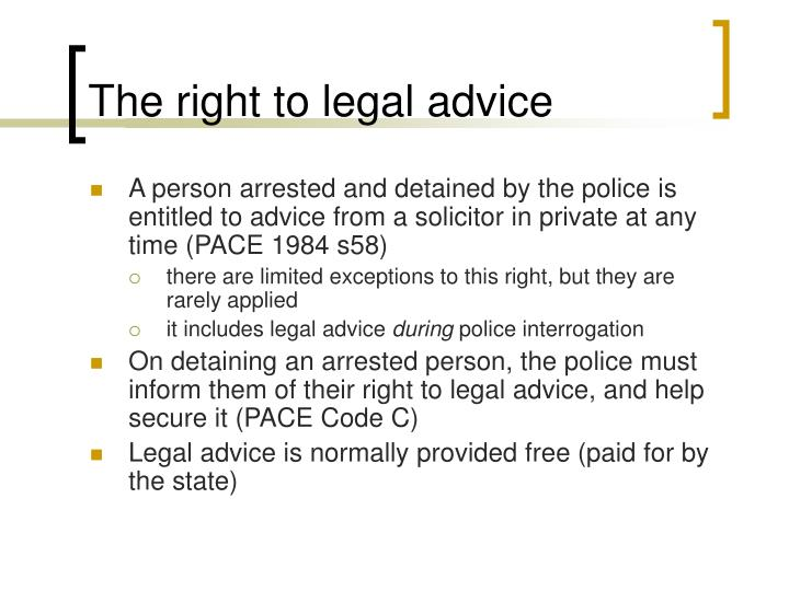 The right to legal advice