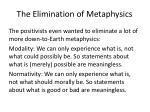the elimination of metaphysics2