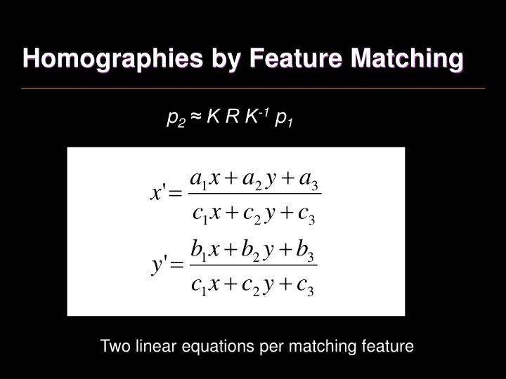 Homographies by Feature Matching