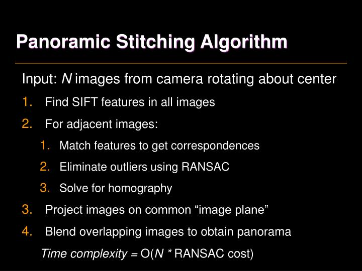 Panoramic Stitching Algorithm