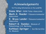 acknowledgements for providing information on the landfills