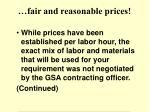 fair and reasonable prices
