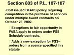 section 803 of p l 107 107