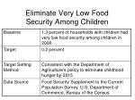 eliminate very low food security among children