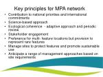 key principles for mpa network