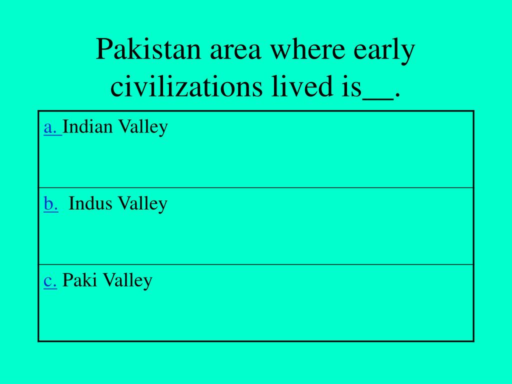 Pakistan area where early civilizations lived is__.