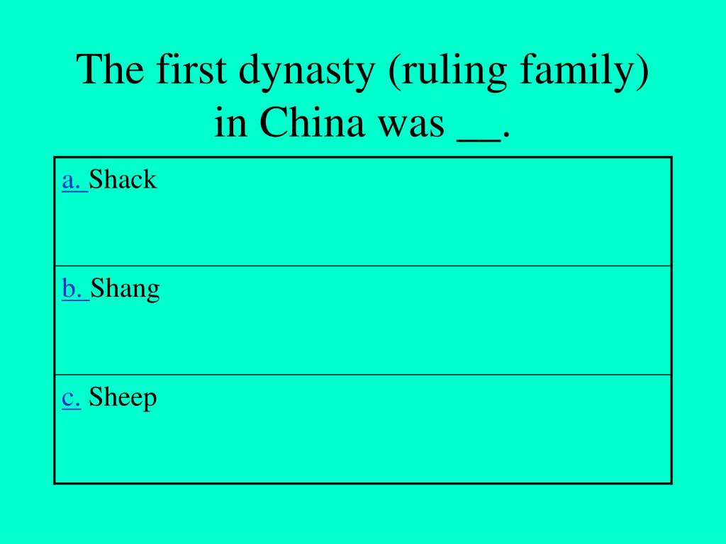 The first dynasty (ruling family) in China was __.