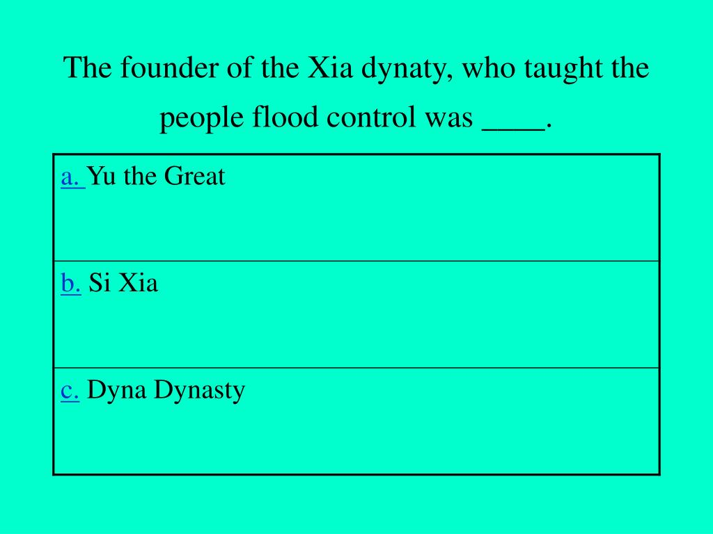 The founder of the Xia dynaty, who taught the people flood control was ____.