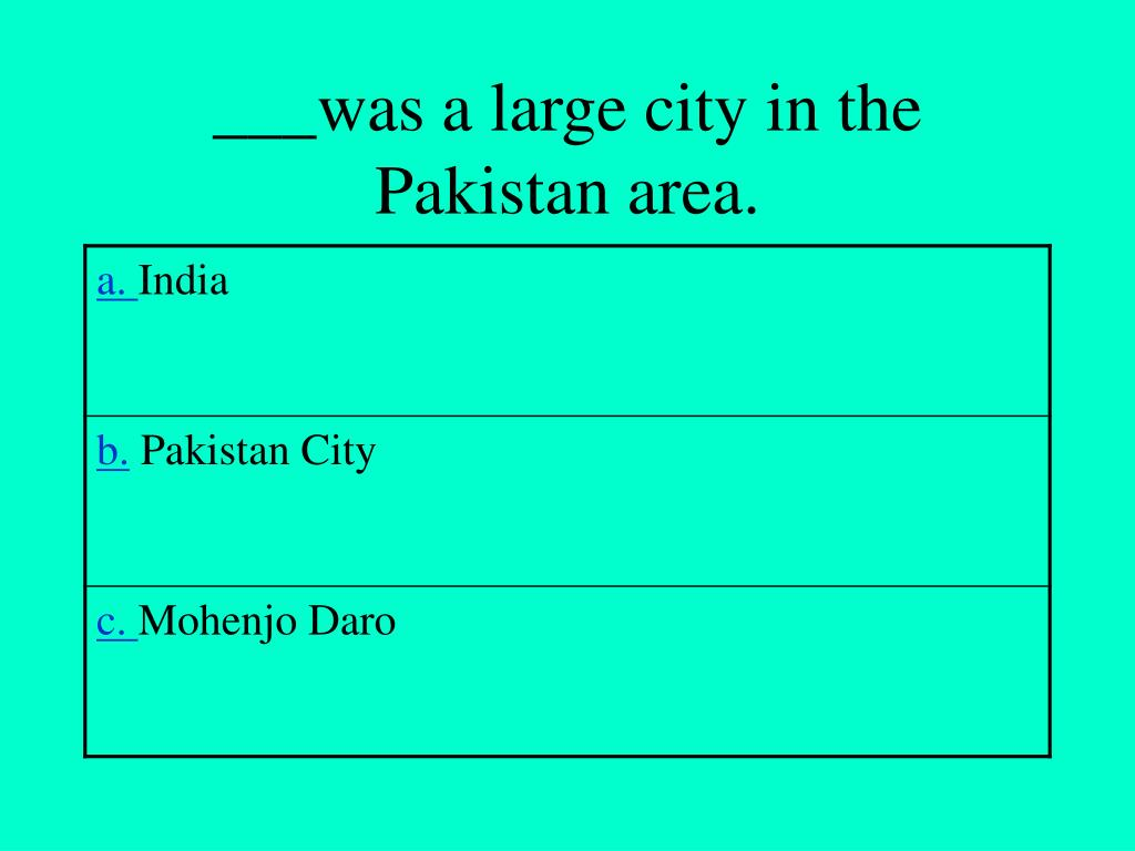___was a large city in the Pakistan area.