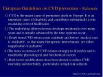 european guidelines on cvd prevention rationale