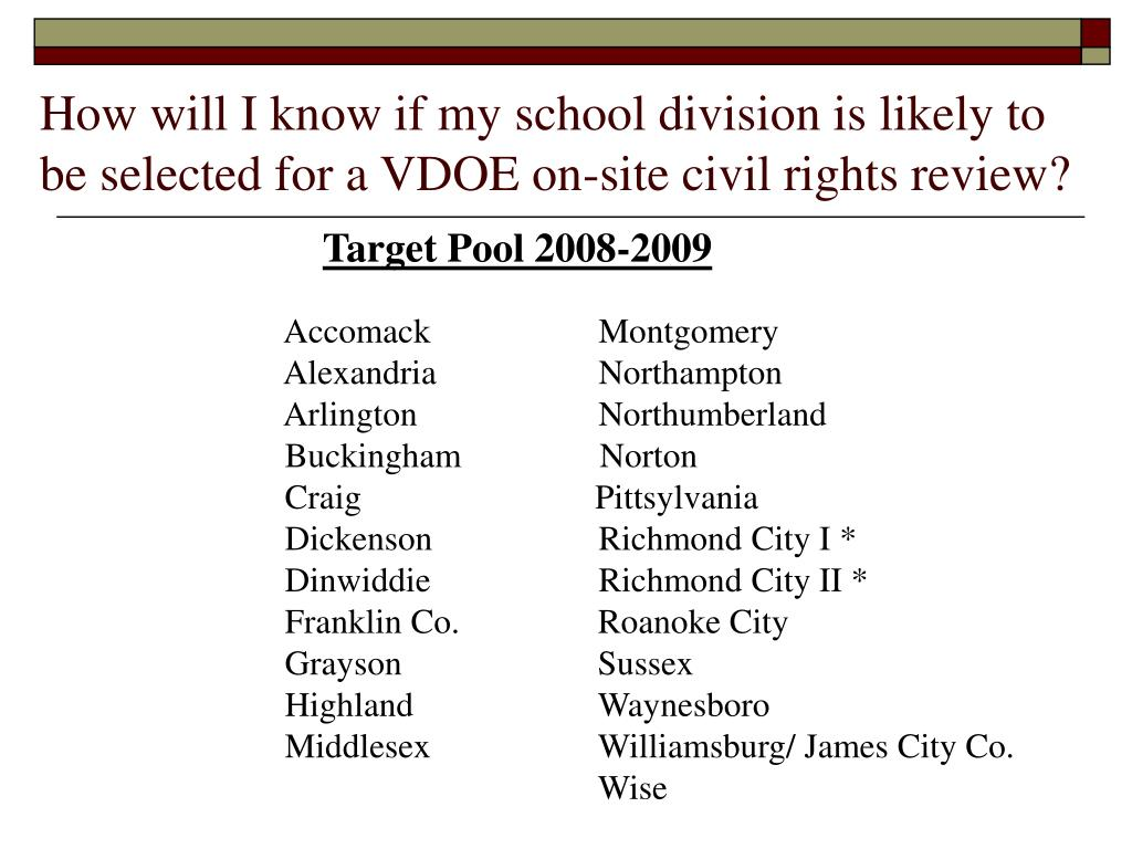 How will I know if my school division is likely to be selected for a VDOE on-site civil rights review?