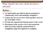what should i do if my school division is selected