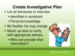 create investigative plan