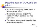 describe how an ipo would be priced