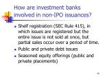 how are investment banks involved in non ipo issuances