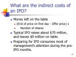 what are the indirect costs of an ipo