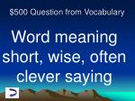 500 question from vocabulary