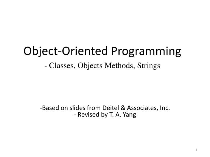 object oriented programming classes objects methods strings n.