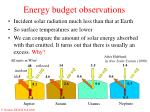 energy budget observations
