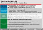 construction permits recommendations for the model state