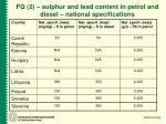 fq 2 sulphur and lead content in petrol and diesel national specifications