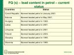 fq s lead content in petrol current status
