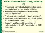 issues to be addressed during workshop 1