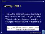 gravity part 1