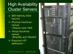 high availability cluster servers