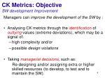 ck metrics objective sw development improvement