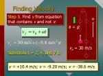 finding velocity