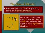 the signs of velocity