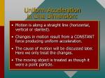 uniform acceleration in one dimension