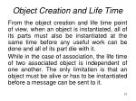 object creation and life time