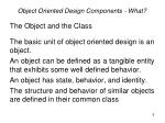 object oriented design components what