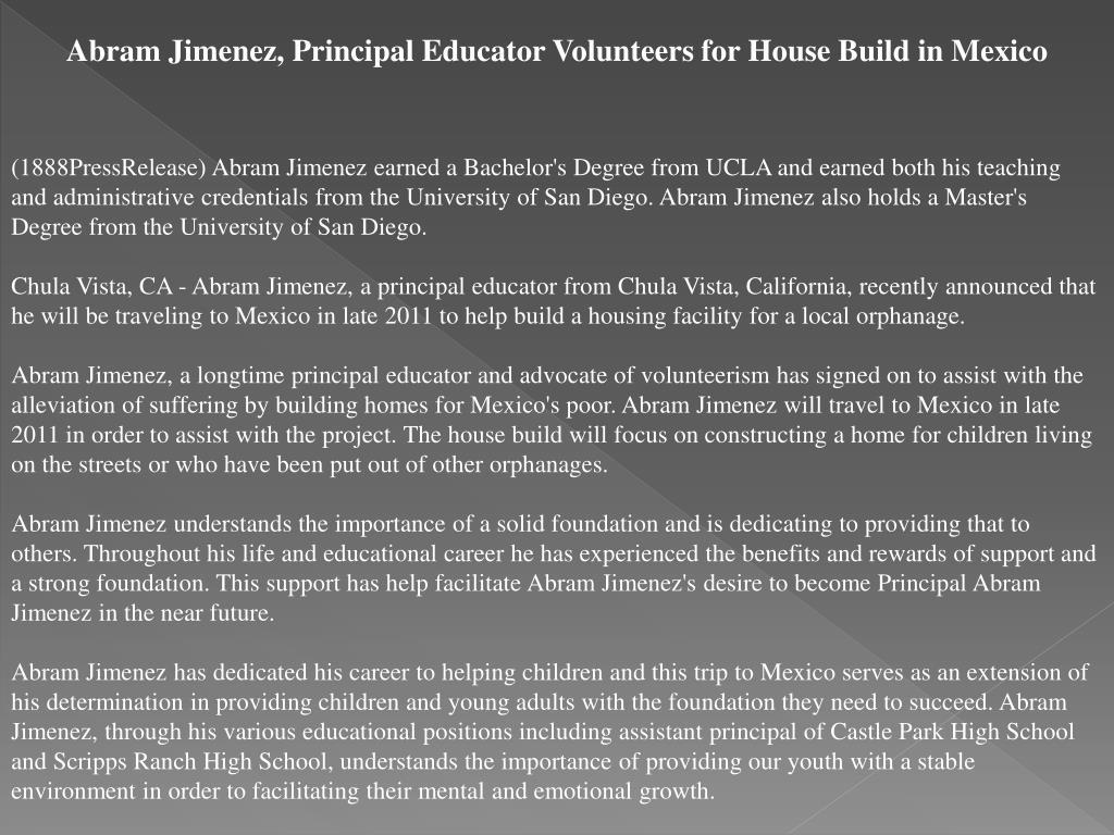Abram Jimenez, Principal Educator Volunteers for House Build in Mexico
