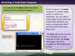 branching in small basic programs