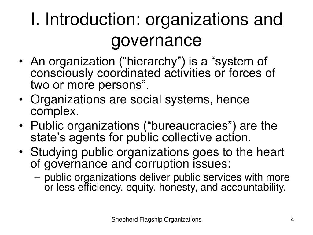 I. Introduction: organizations and governance