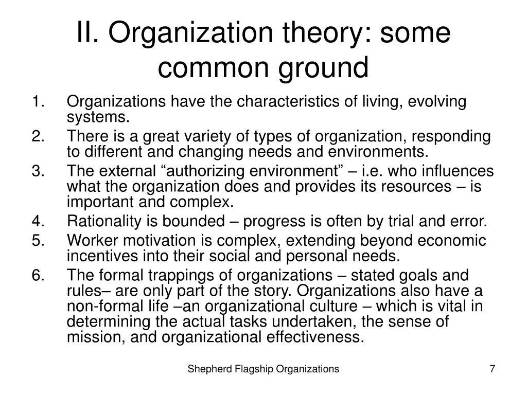 II. Organization theory: some common ground