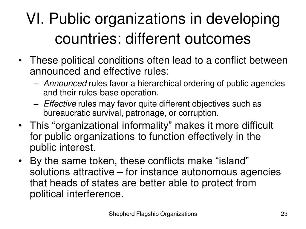 VI. Public organizations in developing countries: different outcomes