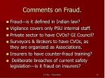 comments on fraud