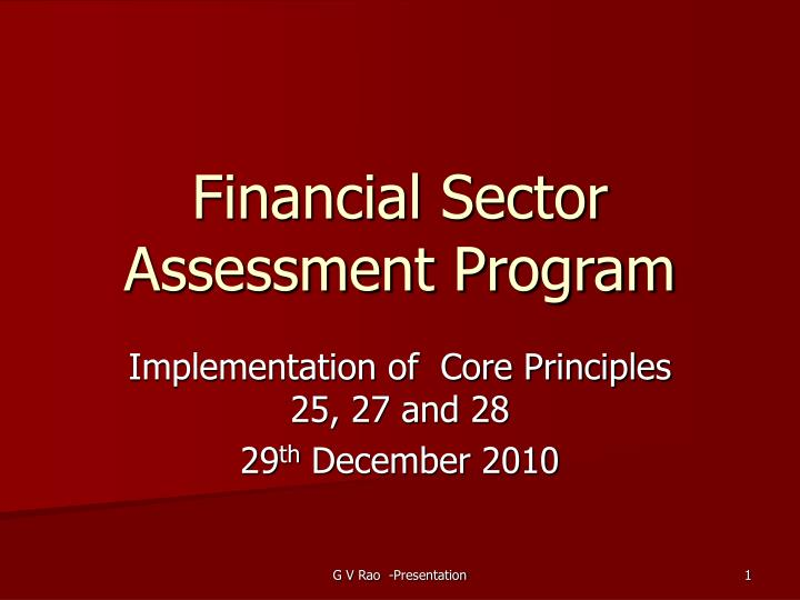 financial sector assessment program n.