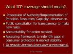 what icp coverage should mean