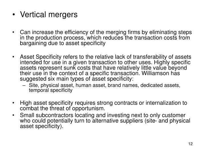 Vertical mergers